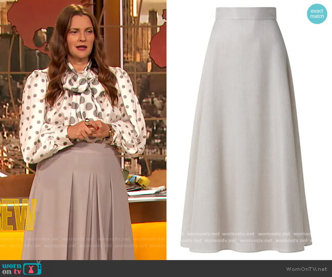 Linen & Flax-Blend A-Line Maxi Skirt by Akris worn by Drew Barrymore  on The Drew Barrymore Show