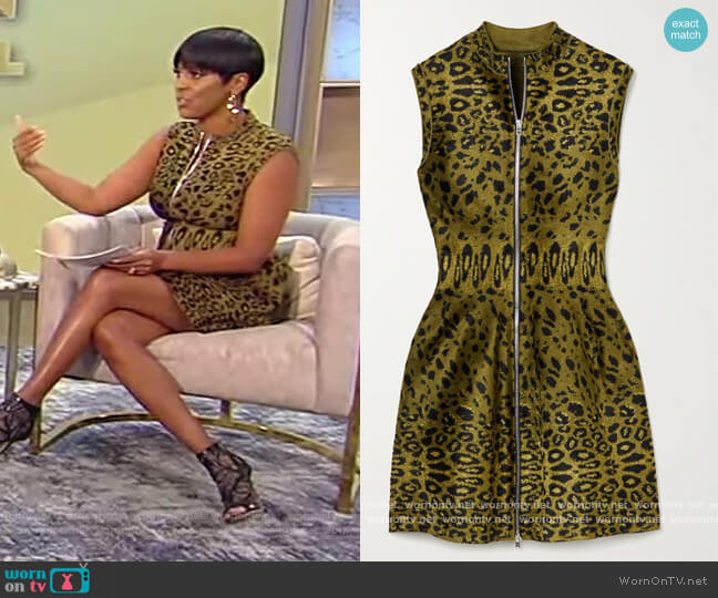 Leopard-print velvet mini dress by Alaia worn by Tamron Hall  on Tamron Hall Show