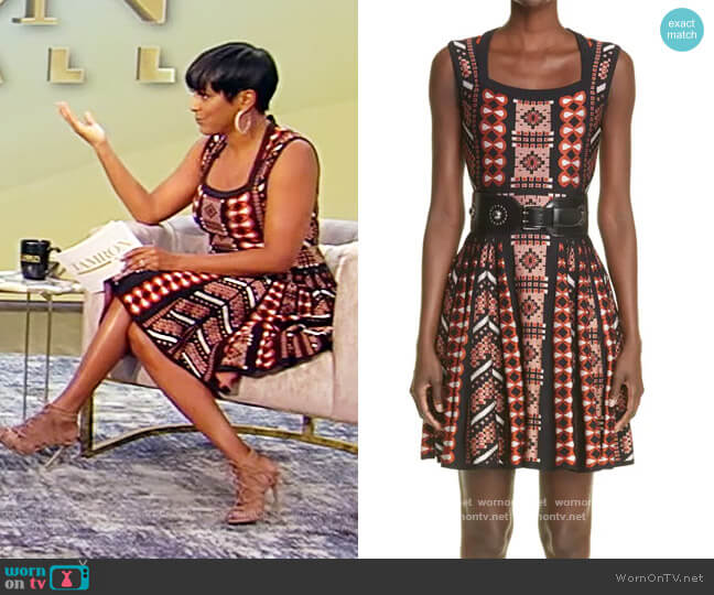 Jacquard Knit Sleeveless Fit & Flare Minidress by Alaia worn by Tamron Hall  on Tamron Hall Show
