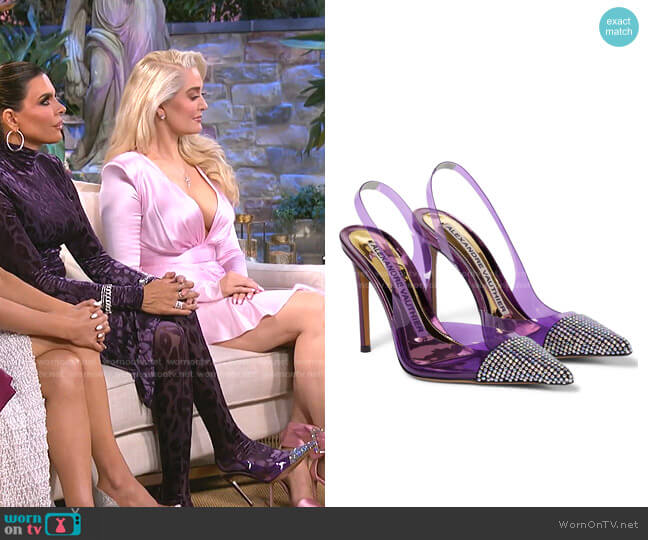 Amber Ghost Pumps by Alexandre Vauthier worn by Lisa Rinna  on The Real Housewives of Beverly Hills