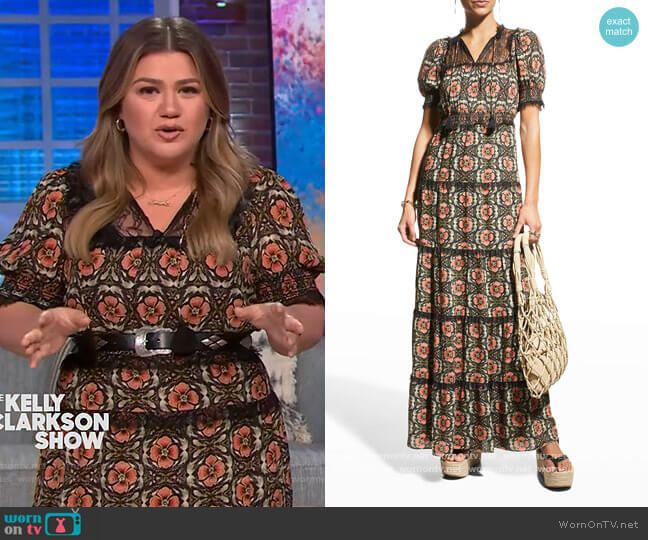 Lynley Smocked Puff-Sleeve Ruffle Maxi Dress by Alice + Olivia worn by Kelly Clarkson  on The Kelly Clarkson Show