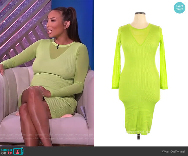 Neon Green Dress by Almost Famous worn by Jeannie Mai  on The Real
