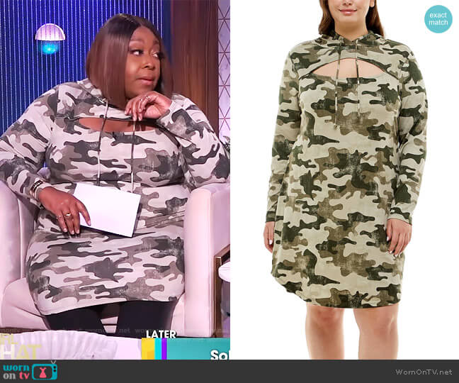 Trendy Plus Size Cutout Hoodie Dress by Almost Famous worn by Loni Love  on The Real