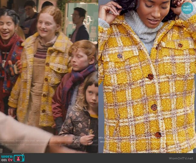 Driftwood Ryan Plaid Sherpa Shirt Jacket by Anthropologie worn by Mallory Pike (Vivian Watson) on The Baby-Sitters Club