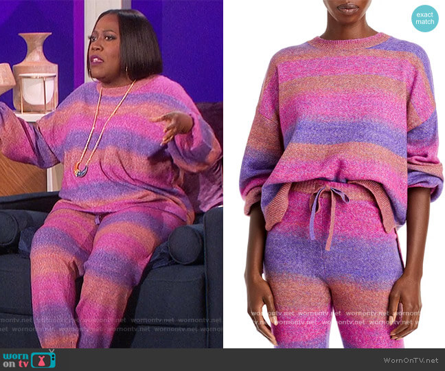 Space Dyed Crewneck Sweater and Pants by Aqua worn by Sheryl Underwood  on The Talk