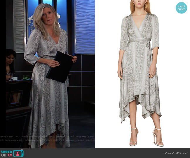 Snake-Embossed Wrap Dress by BCBGMAXAZRIA worn by Carly Corinthos (Laura Wright) on General Hospital