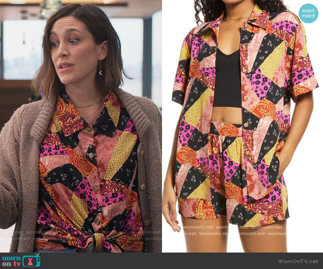 Patchwork Button-Up Shirt by BP. worn by Sarah (Caitlin McGee) on Home Economics