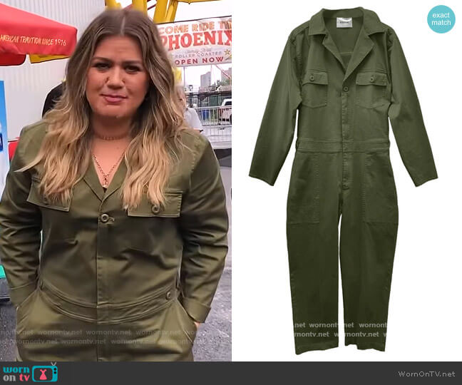 Utility Jumpsuit in Army by Baacal worn by Kelly Clarkson  on The Kelly Clarkson Show