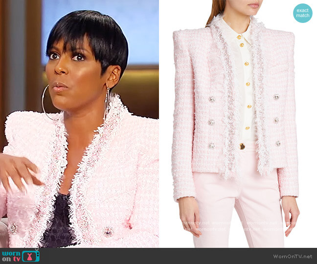 Spencer Strong-Shoulder Tweed Jacket by Balmain worn by Tamron Hall  on Tamron Hall Show