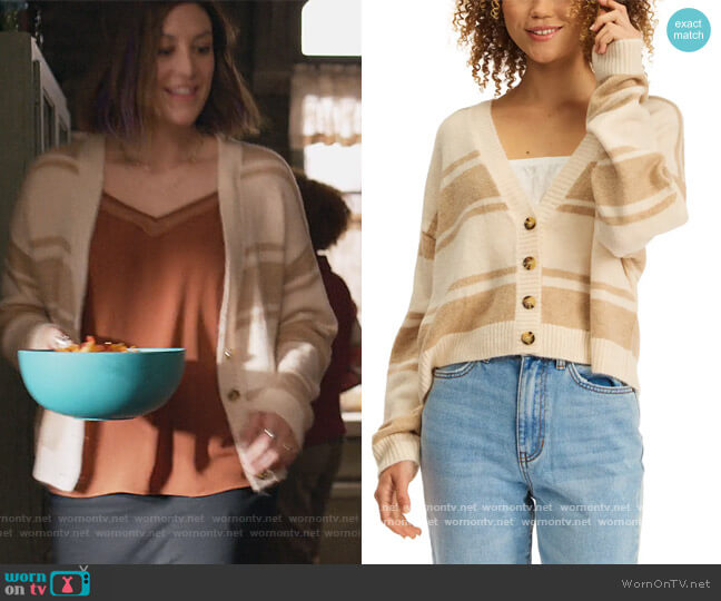 Sunrise Stripe Cardigan Sweater by Billabong worn by Sarah (Caitlin McGee) on Home Economics