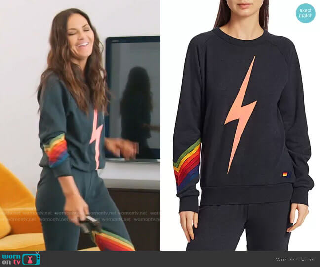 Bolt Stitch Chevron Sweatshirt in Charcoal by Aviator Nation worn by Lisa Barlow  on The Real Housewives of Salt Lake City