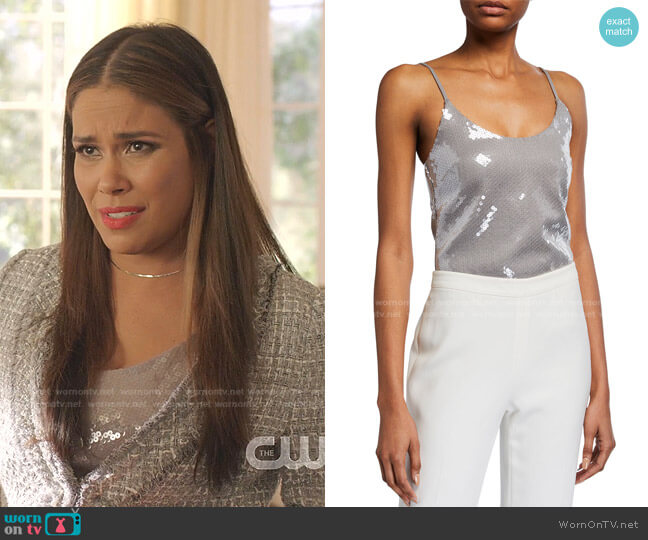 Sequined Spaghetti-Strap Tank Top by Brandon Maxwell worn by Cristal Jennings (Daniella Alonso) on Dynasty