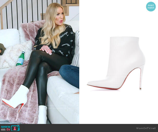 Kate 100 White Leather Booties by Christian Louboutin worn by SaraJane Warner on RHOSLC