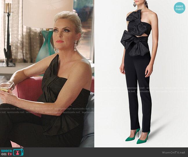 Bow-Detail Silk Jumpsuit by Carolina Herrera worn by Alexis Carrington (Elaine Hendrix) on Dynasty
