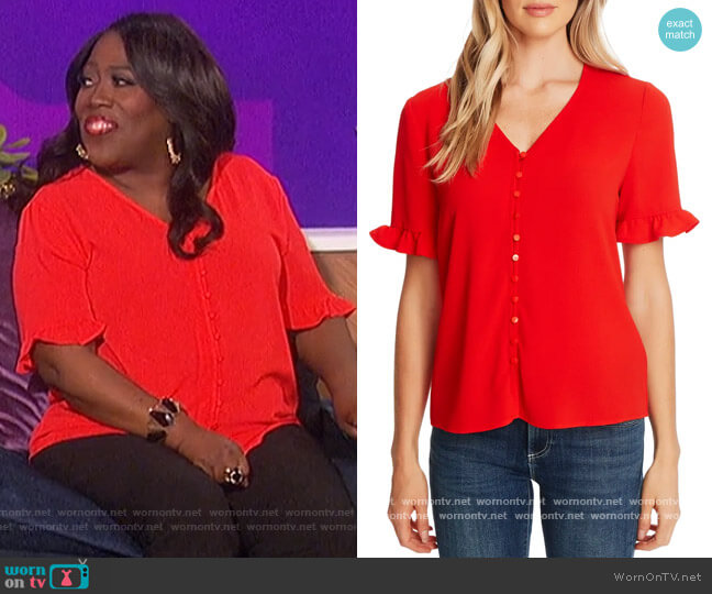 Ruffle Sleeve Crepe Blouse by CeCe worn by Sheryl Underwood  on The Talk