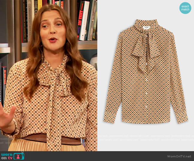 Loose Shirt in Printed Crepe de Chine by Celine worn by Drew Barrymore  on The Drew Barrymore Show