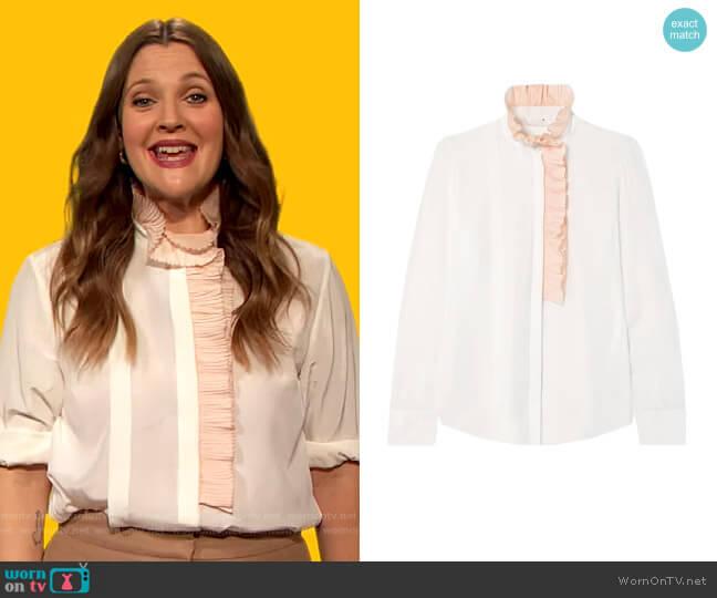 Ruffle-trimmed silk-georgette blouse by Chloe worn by Drew Barrymore  on The Drew Barrymore Show