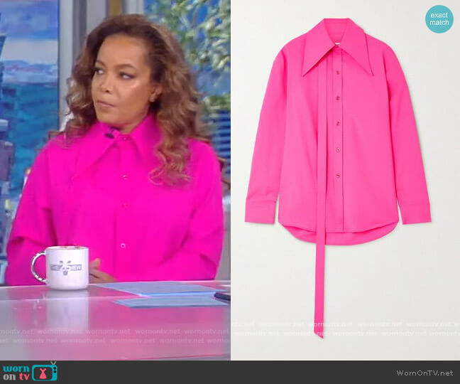 Tie-detailed neon wool-blend shirt by Christopher John Rogers worn by Sunny Hostin  on The View