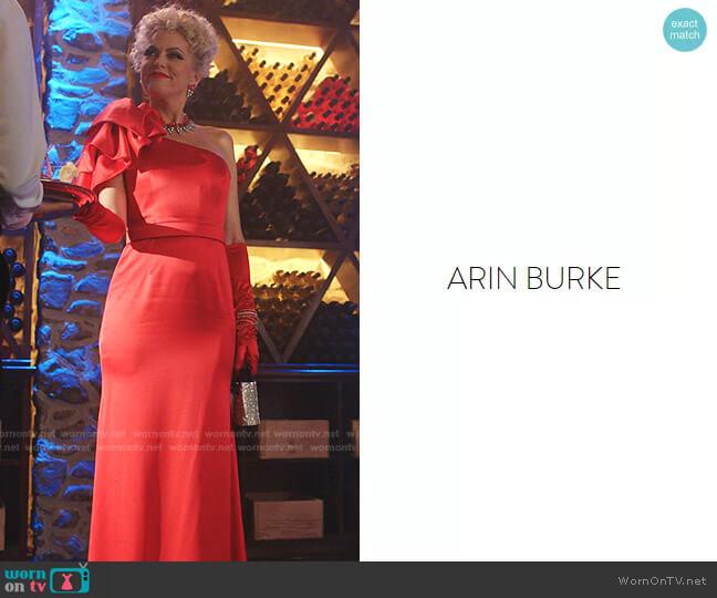 Custom designed by costume designer Arin Burke worn by Alexis Carrington (Elaine Hendrix) on Dynasty