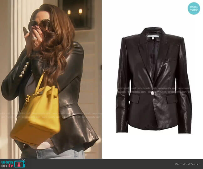 Danielle Leather Dickey Jacket by Veronica Beard worn by Kyle Richards  on The Real Housewives of Beverly Hills