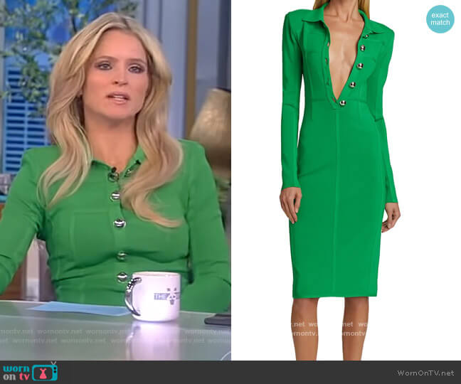 Knit Polo Pencil Dress by David Koma worn by Sara Haines  on The View