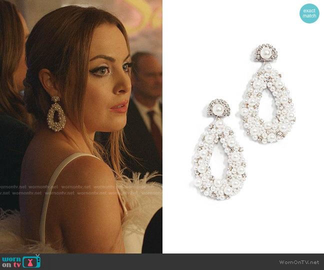 Arabella Earrings by Deepa Gurnani worn by Fallon Carrington (Elizabeth Gillies) on Dynasty