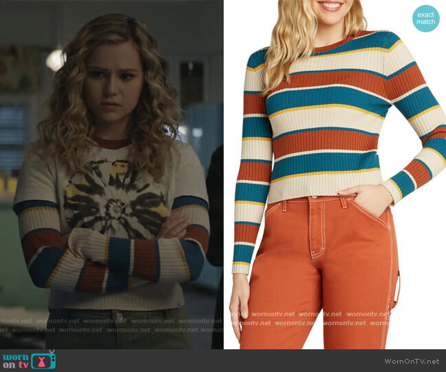 Striped Rib Crew Sweater by Dickies worn by Courtney Whitemore (Brec Bassinger) on Stargirl