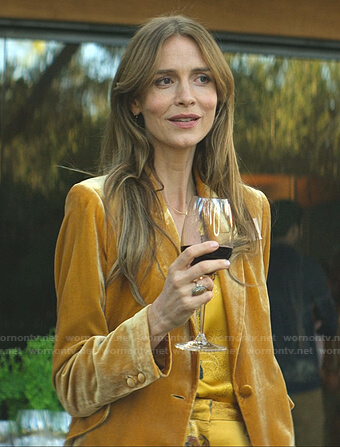 Dottie's yellow velvet blazer and paisley print pants on You
