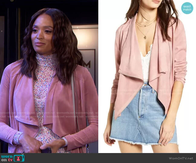 Drape Front Faux Suede Jacket in Dusty Rose by Blank NYC worn by Lani Price (Sal Stowers) on Days of our Lives