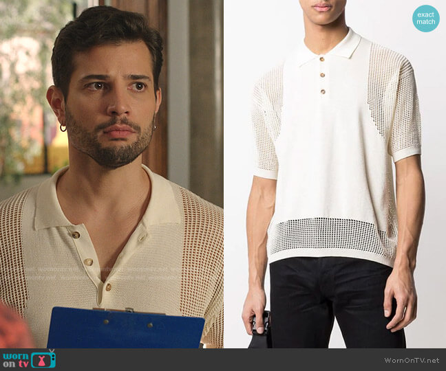 Mesh-Insert Short Sleeved Polo Shirt by Dsquared2 worn by Sam Flores (Rafael de la Fuente) on Dynasty