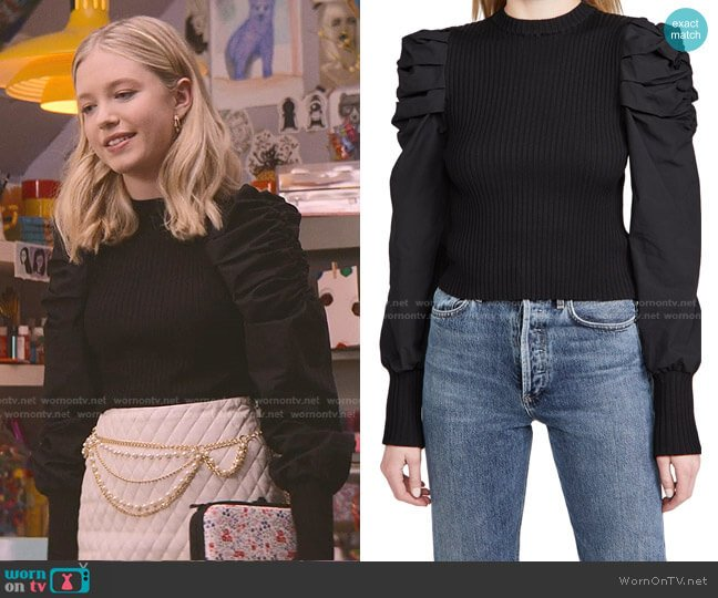 Mixed Media Puffed Sleeve Top by En Saison worn by Stacey McGill (Shay Rudolph) on The Baby-Sitters Club