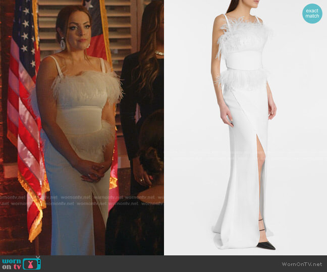 Feather-Trimmed Crepe Gown by Elie Saab worn by Fallon Carrington (Elizabeth Gillies) on Dynasty
