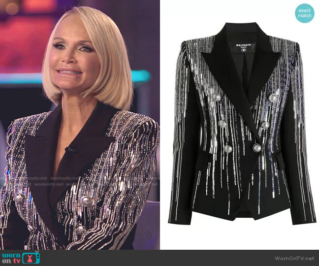 Embellished Double-Breasted Blazer by Balmain worn by Kristin Chenoweth on The Voice