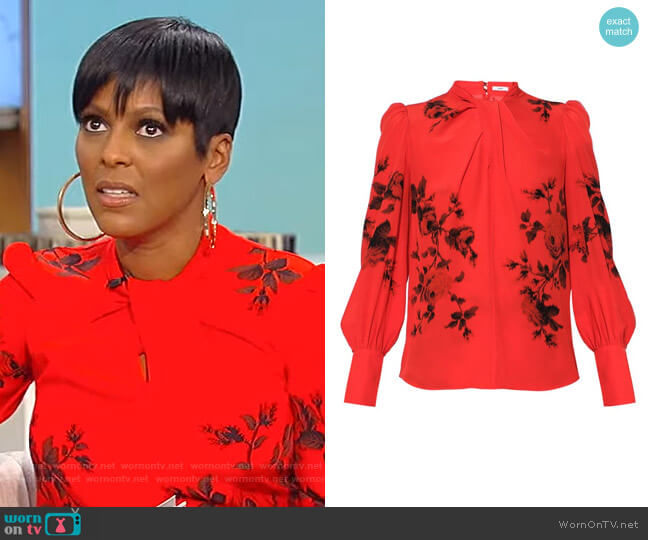 Fayola Floral-Printed Silk Top by Erdem worn by Tamron Hall  on Tamron Hall Show
