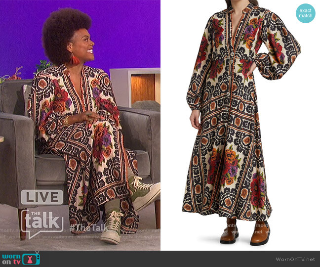 Floral Tapestry Maxi Dress by Farm Rio worn by Tabitha Brown on The Talk