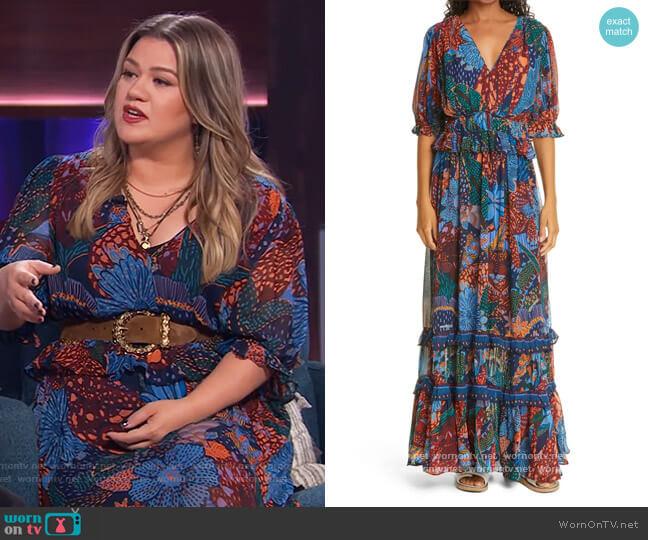 Blue Cool Leopard Ruffle Maxi Dress by Farm RIO worn by Kelly Clarkson  on The Kelly Clarkson Show
