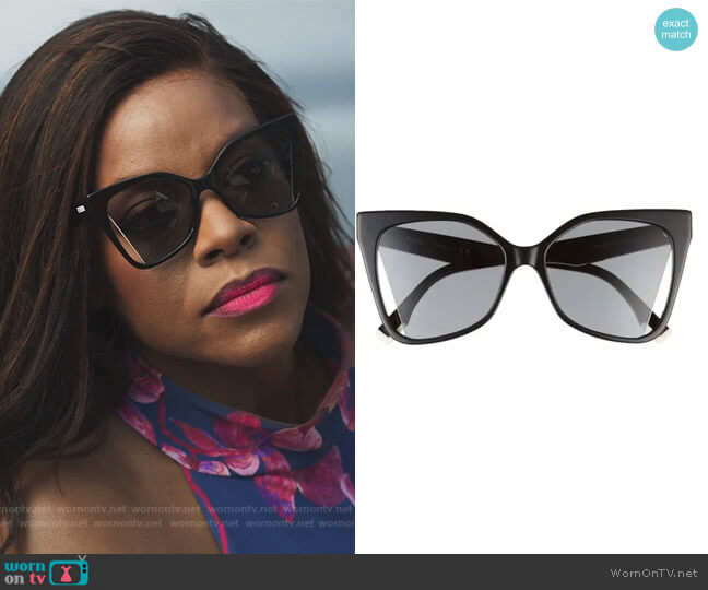 55mm Cutout Butterfly Sunglasses by Fendi worn by Leah Franklin-Dupont (Nadine Ellis) on Our Kind of People
