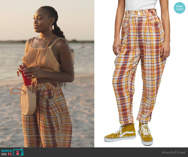 Make a Stand Plaid Trousers by Free People worn by Nikki Vaughn (Alana Bright) on Our Kind of People