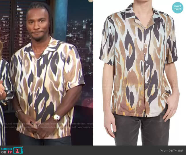 Fuego Short Sleeve Button-Up Camp Shirt by All Saints worn by Scott Evans  on Access Hollywood