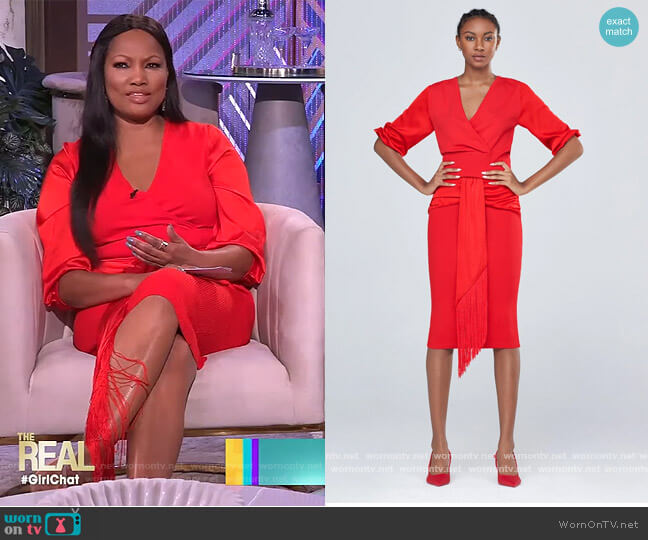 V-Neck Fringe Sweater Skirt by Gabrielle Union worn by Garcelle Beauvais  on The Real