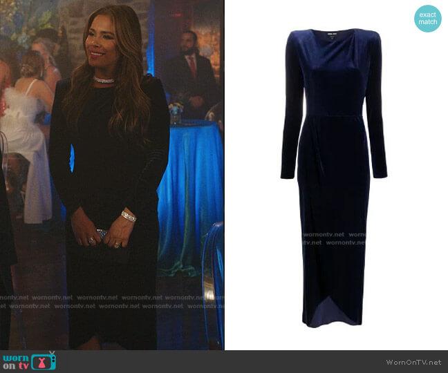 Velvet Long Sleeve Dress by Giorgio Armani worn by Cristal Jennings (Daniella Alonso) on Dynasty