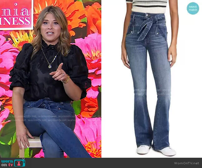 Giselle High Rise Flare Skinny Jeans by Veronica Beard worn by Jenna Bush Hager  on Today