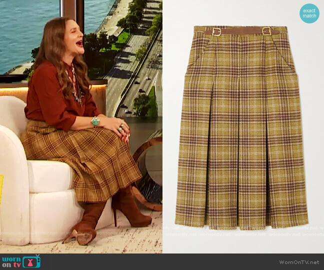 The Adriana leather-trimmed pleated checked wool skirt by Giuliva Heritage worn by Drew Barrymore  on The Drew Barrymore Show