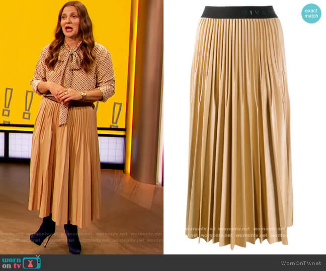 Logo-tape mid-length Skirt by Givenchy worn by Drew Barrymore  on The Drew Barrymore Show