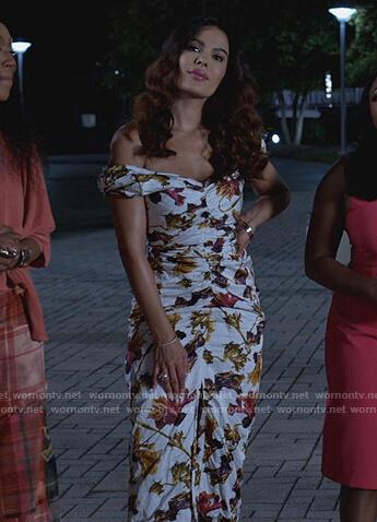 Valeria's white floral print off shoulder dress on Queens