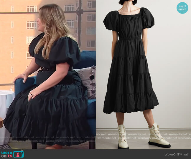 Off-the-shoulder cotton-poplin midi dress by Jason Wu worn by Kelly Clarkson  on The Kelly Clarkson Show