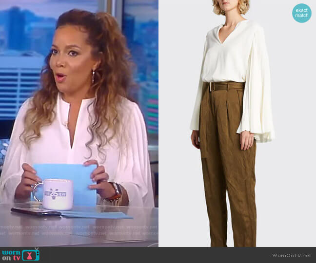Pleated Bell-Sleeve Crepe Top by Jason Wu worn by Sunny Hostin  on The View