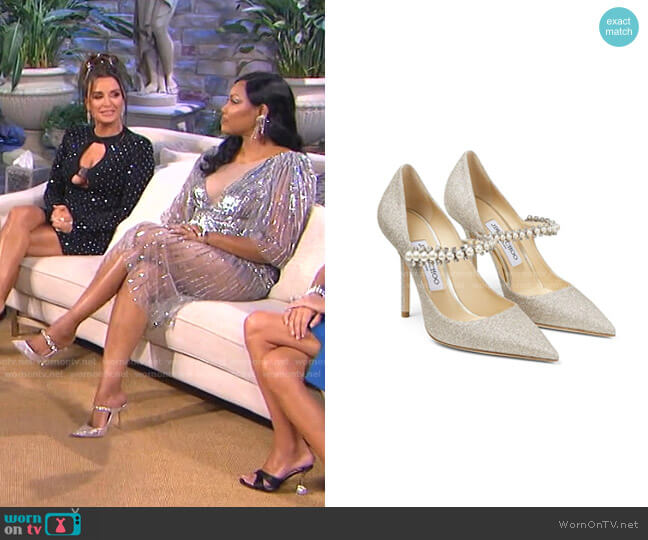 Baily Pearl-Embellished Pumps by Jimmy Choo worn by Garcelle Beauvais  on The Real Housewives of Beverly Hills