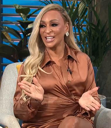 Karen Huger's copper asymmetric shirtdress on E! News Daily Pop