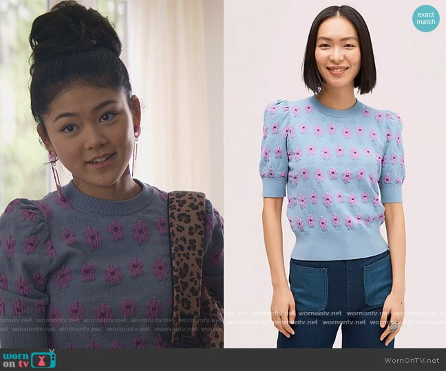 Marker Floral Sweater by Kate Spade worn by Claudia Kishi (Momona Tamada) on The Baby-Sitters Club